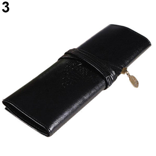 Practical New Vintage Retro Roll Leather Make up Cosmetic Pen Pencil Case Pouch Purse Bag Accessories For Women - Hespirides Gifts - 2
