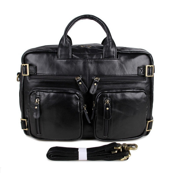 Genuine Cowhide Leather Men Messenger Shoulder Bags Functional Style Vintage Tote Handbag Men's Leather Laptop New Travel Bag - Hespirides Gifts - 7