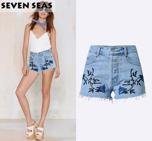 Summer Vintage Boho Shorts Embroidery Plus size High Waisted Denim Shorts Women Jean Shorts cutoffs - Hespirides Gifts