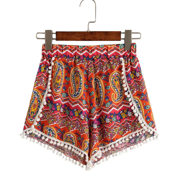Feitong Women Sexy Floral Printing High Waist Elastic Waist Lace Shorts Summer Casual Short Pants Boho summer pom pom shorts New - Hespirides Gifts