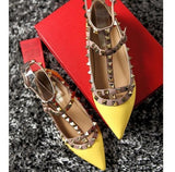 Fashion Women Ankle Strap Flats Metal Studded Shoes Rivets Flat Shoes Pointed Toe Genuine Leather Ballerina Plus Size 34-43 - Hespirides Gifts - 14