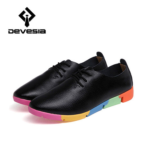 Flats Women New Womens Fashion Spring Summer Style Casual Plus Size Loafers Shoes Lace-up Pointed Toe Leather Black White - Hespirides Gifts - 4