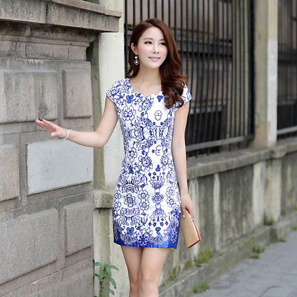 Cheongsam blue and white porcelain vintage chinese style retro cheongsam dress embroidered qipao - Hespirides Gifts - 2