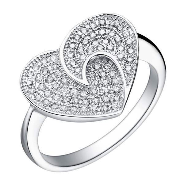 ZMZY Layer Silver Heart Full Crystal Love Ring Jewelry Wedding Engagement Rings for Women Wholesale - Hespirides Gifts