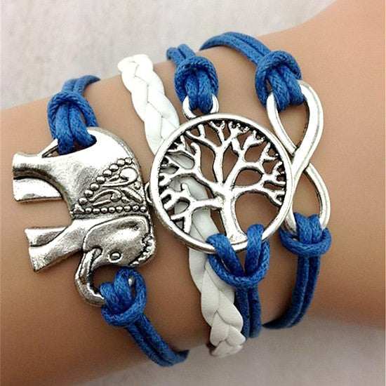 male female Bracelets Infinity Elephant Love Tree of Life manual multilayer bracelet - Hespirides Gifts