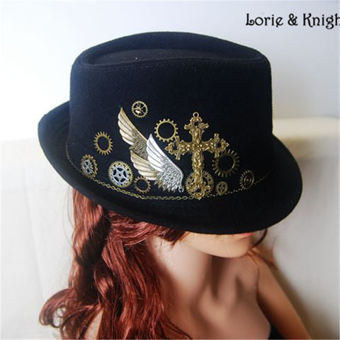 DIY Vintage Gothic Steampunk Wool Victorian Mini Top Hat with Cross & Gears for Wen and Women BLACK - Hespirides Gifts