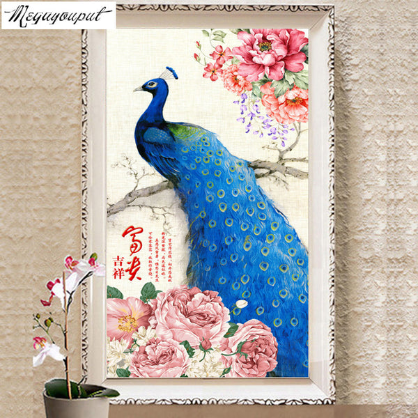 new arrival 5D diamond Embroidery diy Diamond painting cross stitch home Decoration diamond mosaic peacock picture kid gift - Hespirides Gifts