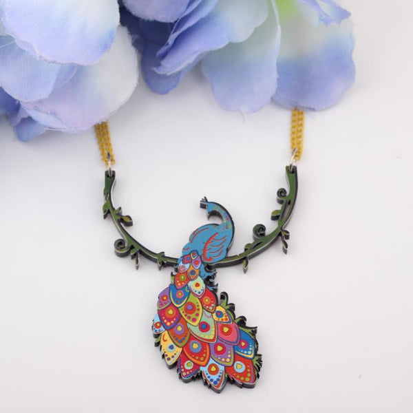 Newei peacock necklace acrylic pattern new pendant accessories spring summer aniaml colorful girls woman fashion jewelry - Hespirides Gifts