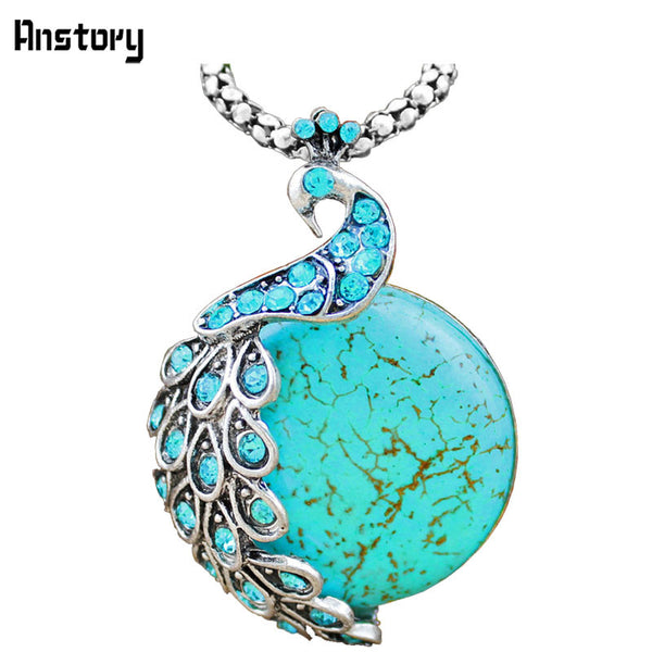Vintage Look Antique Silver Plated Cute Blue Crystal Peacock Turquoise Pendant Necklace TN191 - Hespirides Gifts