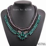 New style statement luxurious fashion accessories clear rhinestone crystal necklaces jewelry with black chain for women - Hespirides Gifts - 3