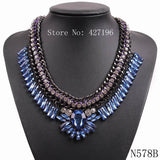 New style statement luxurious fashion accessories clear rhinestone crystal necklaces jewelry with black chain for women - Hespirides Gifts - 4