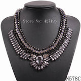 New style statement luxurious fashion accessories clear rhinestone crystal necklaces jewelry with black chain for women - Hespirides Gifts - 2