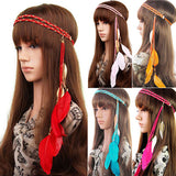 Fashion Indian Peacock Hair Accessories Feather Tassel Headband Metal Leaves Rope Knitted Belt Elastic Hairband - Hespirides Gifts - 1
