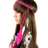 Fashion Indian Peacock Hair Accessories Feather Tassel Headband Metal Leaves Rope Knitted Belt Elastic Hairband - Hespirides Gifts - 4