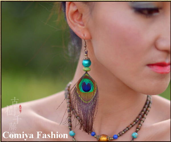 Colorful Peacock Feather Earrings For women With Green Ball Fashion Relaxation New Chinese Handmade Vintage Troditional earring - Hespirides Gifts