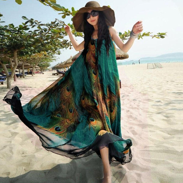 Bohemian Summer Fashion Women Chiffon Sleeveless Large Swing Peacock Print Long Maxi Dress Beach Dress Plus Size Vestidos - Hespirides Gifts - 2