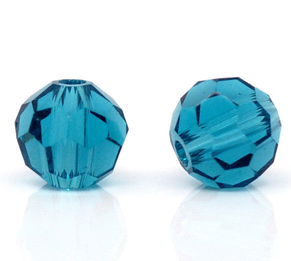 "Glass Loose Beads Ball Peacock blue Transparent Faceted About 4.0mm( 1/8"") Dia, Hole: Approx 1.0mm, 15 PCs new - Hespirides Gifts"