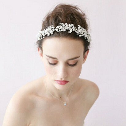 Luxury handmade top quality Bridal Tiara Crown Headband crystal Wedding Headdress silver pearls - Hespirides Gifts