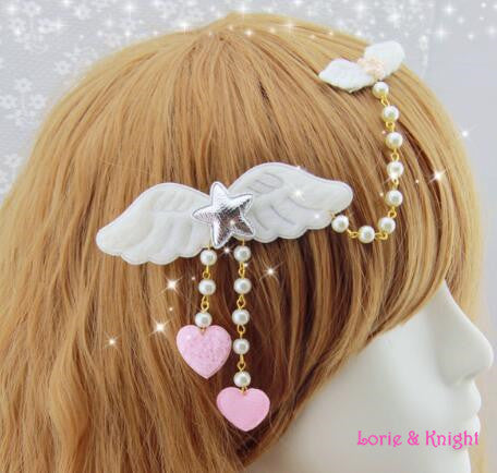 Japanese Harajuku White Angle Wing Star Hairpin Hair Clip Sweet Lolita Princess Pendant Jewelry/Heart Headdress Only 1 - Hespirides Gifts