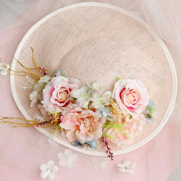 2016 Bridal Hair Accessories High End Lady Flower Fascinator Sinamay Flax Silk Headband Top Hat Party Wedding Headdress Pink - Hespirides Gifts - 2