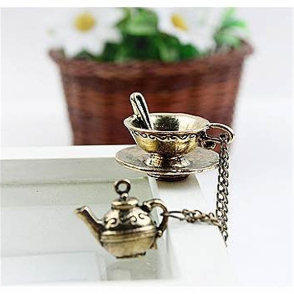 New Fashion Women Jewelry Vintage Individuality Bronze Retro Coffee Cup Teapot Spoon Necklaces & Pendants - Hespirides Gifts
