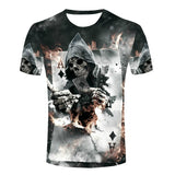 Top Sales Men Retro A Skull Poker Cards T Shirts Fashion Funny Designer T-shirts Man Clothing Vintage Sports Male Tee Shirt - Hespirides Gifts - 1