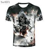 Top Sales Men Retro A Skull Poker Cards T Shirts Fashion Funny Designer T-shirts Man Clothing Vintage Sports Male Tee Shirt - Hespirides Gifts - 2