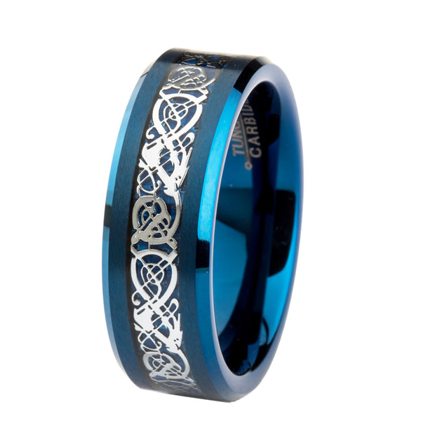 Wholesale 10pcs Men's / Women's Tungsten Carbide Wedding Ring 8mm Blue Carbon Fiber Silvering Celtic Dragon Jewelry Size 7-13 - Hespirides Gifts
