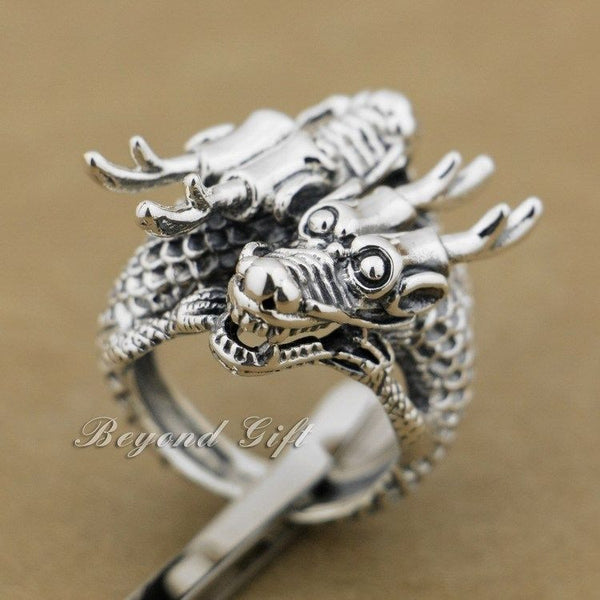 Huge Heavy 925 Sterling Silver Double Dragon Head Mens Punk Biker Rocker Ring 9Q014 - Hespirides Gifts