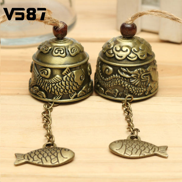 Chinese Style Metal Small Wind Chimes Cool Vintage Dragon Fish Pattern Car Door Bed Hanging Bell Pendant Home Garden Decoration - Hespirides Gifts