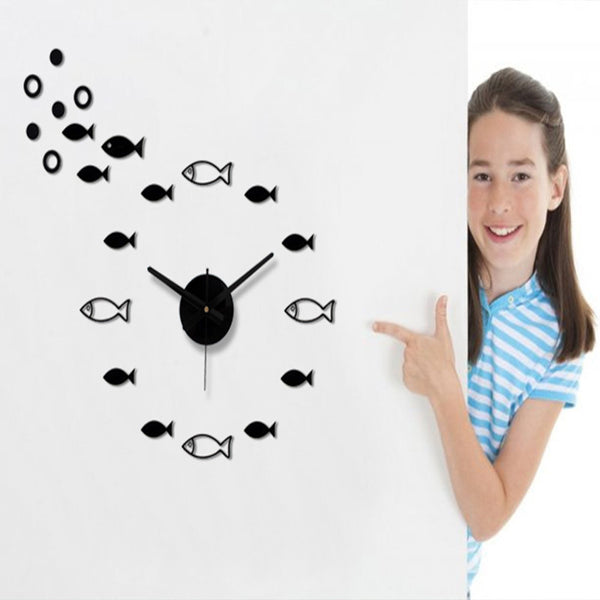 DIY Shoal of fish Wall Clock decor office clock for quiet sleep mute quartz wall watch decorative wall stickers clock - Hespirides Gifts - 1