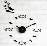 DIY Shoal of fish Wall Clock decor office clock for quiet sleep mute quartz wall watch decorative wall stickers clock - Hespirides Gifts - 3