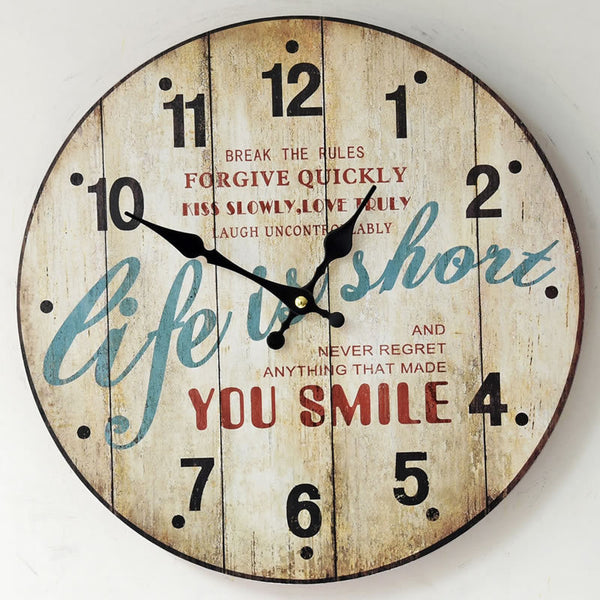 YOU SMILE Wood Large Wall Clock European Style life is short Retro Round Colorful Wood Clocks Home Decor - Hespirides Gifts