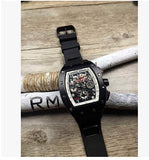 Business Men watches brand luxury Skeleton mechanical rubber band hree 6-pin watch male clock reloj hombre wrist watch - Hespirides Gifts - 4