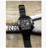 Business Men watches brand luxury Skeleton mechanical rubber band hree 6-pin watch male clock reloj hombre wrist watch - Hespirides Gifts - 2