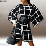 New Arrival Fashion Flare Sleeve Plaid Print Loose Dress Sexy Women Elegant O Neck Knee Length Autumn Vestidos Dresses - Hespirides Gifts - 1