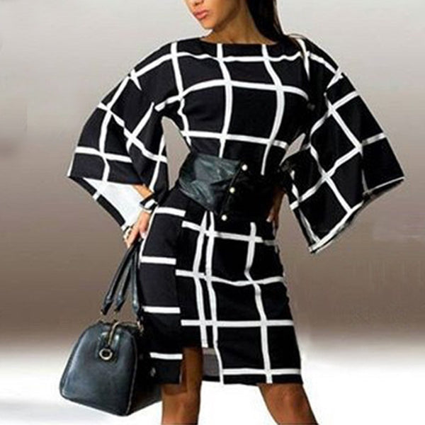 New Arrival Fashion Flare Sleeve Plaid Print Loose Dress Sexy Women Elegant O Neck Knee Length Autumn Vestidos Dresses - Hespirides Gifts - 2