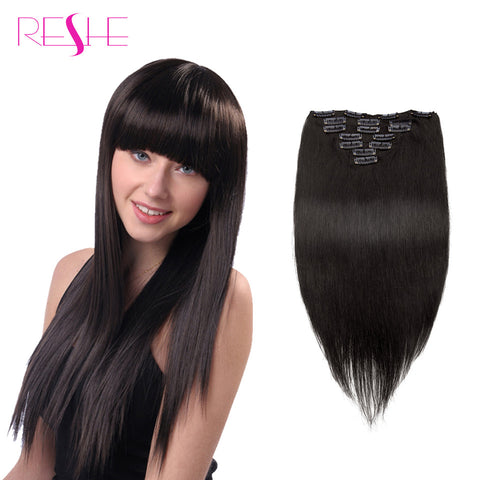 Reshe Clip In Human Hair Extensions 1B Color Brazilian Virgin Hair Clip In Extension 7&10 pcs Clip In Human Hair Extension - Hespirides Gifts