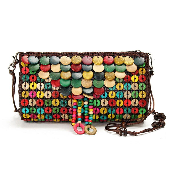 National Style Women Handbag String Beads Handmade Colorful Shell Shoulder Bags Folk Woven Lady Day Clutches Patchwork Sling Bag - Hespirides Gifts
