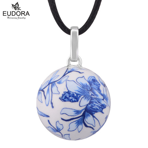 Unborn Baby Gift Anger Caller Silver Jewelry Mexico Bola Blue And White Porcelain Harmony Pregnancy Chime Ball Pendant Necklace - Hespirides Gifts
