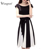 Women Summer OL Office Bowtie Black&White Patchwrok 2 Piece Set Short Sleeve O-Neck Tops And MId-Calf Skirts Sets WAT1010 - Hespirides Gifts - 1