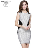 ELaCentelha Autumn Patchwork Striped Dress Work Women Geometric Pattern A-line Dresses