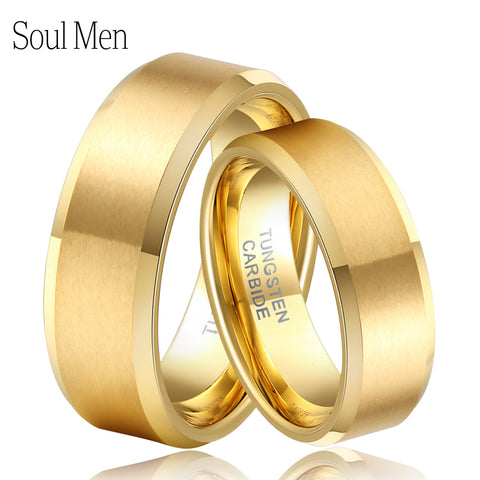 Soul Men 1 Pair Gold Color Couples Wedding Band His and Hers Tungsten Rings Set Hot Sale in Brasil Alliance Size 4-14 TU051RC