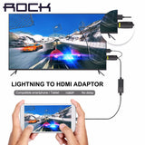 ROCK 1080P Lightning to HDMI Adapter for iPhone SE 6 6s 6 plus hdtv adapter HDMI Cable iPhone to TV video audio output converter - Hespirides Gifts - 1
