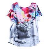 Fashion Novelty Sacred Batwing Sleeve Women Ladies Short Sleeve Abstract Religio Print Women Tops Sexy Vintage T-Shirts Clothes - Hespirides Gifts - 11