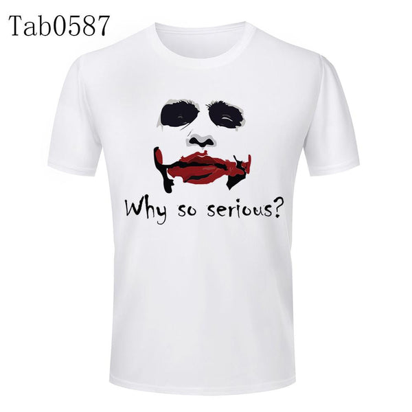 High Quality Why So Serious Letters Logo T Shirt Polyester 3D Tops Tees Summer Men Funny Joker T-shirt Sport Fitness Clothing - Hespirides Gifts - 2