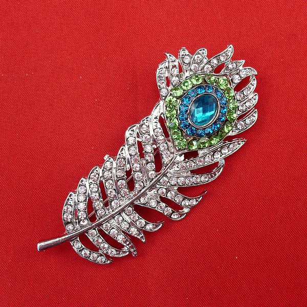 New Fashion Emerald & Clear Crystal Peacock Feather Rhinestone Elegant Wedding Brooch Pin For Women, Item No.: FB002-B - Hespirides Gifts