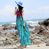 Top qulity summer bohemian national style Classy beach dress women's the peacock feather print long chiffon dresses MS008 - Hespirides Gifts - 2