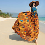 Top qulity summer bohemian national style Classy beach dress women's the peacock feather print long chiffon dresses MS008 - Hespirides Gifts - 3