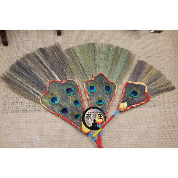 Tantric Buddhism Tibetan Dharma-vessel Pink Reineckea Herb Exquisite Peacock Feather Satin Bumba Hand Fan Special Offer - Hespirides Gifts